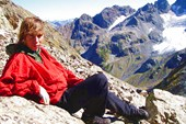 Лена Рыбкина на перевале Цандышхо